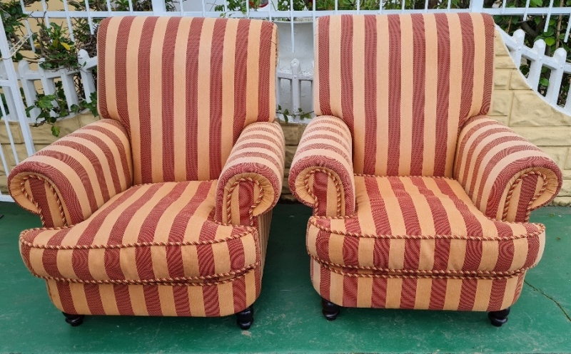 PAIR COMFY OVERSIZED FIRESIDE CHAIRS
